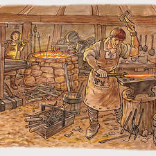 Medieval or even earlier blacksmith's workshop.Smith is beating some red hot iron into shape,